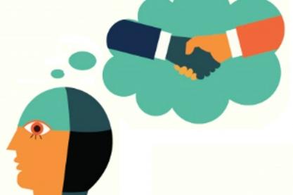 Cartoon van persoon met denkballonnetje van twee personen die handen schudden