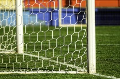 Close-up van een voetbaldoel